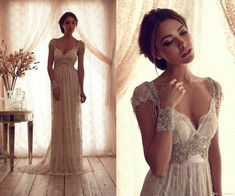 Wholesale Empire Wedding Dresses - Buy 2014 Vintage Plus Size Maternity Wedding Dresses Anna Campbell Floor Length Backless Bridal Gowns Cheap Beads Capped Sleeves Lace Beading, $124.14 | DHgate
