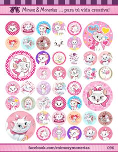 """Marie The Aristocats Bottle Cap Images 1"""" - Digital Collage Sheet 8.5x11""""- Hair Bow Centers, Magnets, Stickers and Crafts - INSTANT DOWNLOAD"""