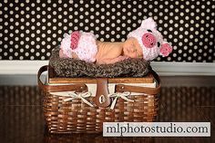 Fuzzy Piggy Set Crochet Baby Girl Hat and Diaper cover Newborn Photography Prop on Etsy, $32.00
