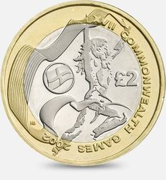 XVII Commonwealth Games in Manchester - 2002. There were 4 versions of this coin - showing the flags of England, Wales, Scotland and Northern Ireland - this is the English version. http://www.royalmint.com/discover/uk-coins/coin-design-and-specifications/two-pound-coin/2002-xvii-commonwealth-games-in-manchester