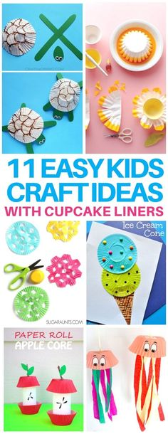 These kids crafts are perfect boredom busters or rainy day activities! They are super cheap & easy to make too since they are all made out of cupcake liners! #kidscrafts