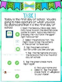 Thanks to Seesaw Ambassador Sara Connell for sharing these task cards! Get the cards! Beginning Of The School Year, New School Year, First Day Of School, Teaching Technology, Educational Technology, Technology Lessons, Digital Technology, Teaching Resources, School Classroom