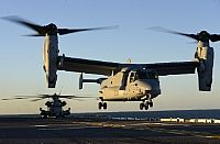 161023-N-QJ850-192 ATLANTIC OCEAN (Oct. 23, 2016) An MV-22B Osprey, assigned to Marine Medium Tiltrotor Squadron 365 (VMM-365), lands on the flight deck of amphibious assault ship USS Iwo Jima (LHD 7). Iwo Jima and the 24th Marine Expeditionary Unit are returning from conducting humanitarian aid and disaster relief in Haiti as part of Joint Task Force Matthew. (U.S. Navy photo by Petty Officer 2nd Class Andrew Murray/Released)