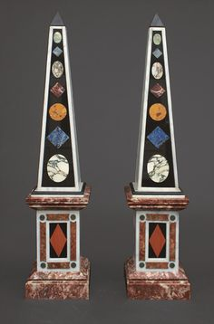 Exceptional Pair of Obelisks made of Multi-Coloured Marble in pietra dura style. cm, base 40 x 40 cm. Candle Sticks, Home Libraries, Grand Tour, Decorative Objects, Decoration, Vases, Sculptures, It Cast, Clock