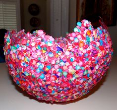 DIY Confetti Bowl---great way for me to use up all the little punched flowers, circles, stars