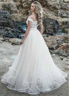 Buy discount Glamorous Tulle Jewel Neckline A-line Wedding Dress With Beaded Lace Appliques & Ruffles at Laurenbridal.com