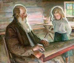 ALBERT GEBHARD (1869-1937) VANHA KANTELEENSOITTAJA LAPSENLAPSENSA KANSSA / Old kantela player and grandchild - Finland
