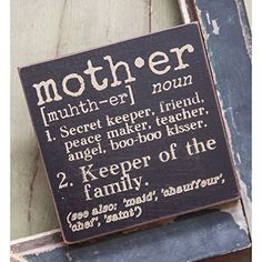 The Definition of Mother - Decorative Wood Sign 6-in x 6-in