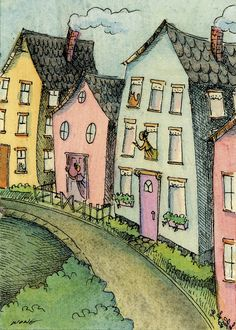 Neighbors by Nicole Wong  http://www.etsy.com/listing/123669012/aceo-print-neighbors?