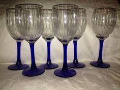 Mint Set 8 Vintage Libbey Deep Cobalt Blue Wine Water
