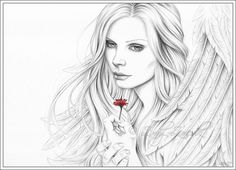Love Me Angel Red Flower Portrait Art Print Glossy by zindyzone