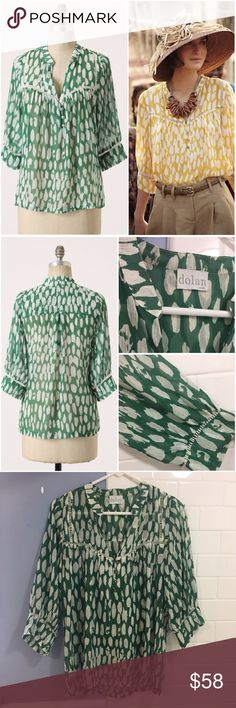"""Anthropologie Flowering Pasture Blouse silk Dolan Anthropologie Flowering Pasture Blouse, size large. This gorgeous 100% silk blouse by Dolan is classic Anthropologie and very hard to find now, especially in this lovely green color. The flowing shape is right on trend for this spring and summer! In like-new condition. Lying flat I measured the chest at about 21"""" across. 25"""" long.  """"A silken field of watercolor is just barely fenced in by picket-like openwork at the cuffs and yoke. By…"""