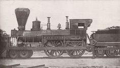 "New Hampshire Central Railroad 4-4-0 steam locomotive ""Reindeer,"" circa 1851."
