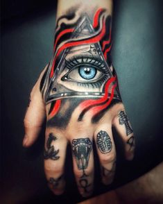 Tattoos Eye In Hand — Hand Tattoos Design Neck Tattoo For Guys, Hand Tattoos For Guys, Hand Tats, Sleeve Tattoos For Women, Om Tattoo Design, Tattoo Arm Designs, Pretty Tattoos, Beautiful Tattoos, Cool Tattoos