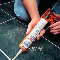 to Repair Grout That's Cracking Removing tile grout with a tile saw and replacing grout with colored, sanded caulk.Removing tile grout with a tile saw and replacing grout with colored, sanded caulk. Regrouting Tile, Floor Tile Grout, Tiling, Grout Paint, Diy Tiles, Grout Repair, Brick Repair, Home Fix, Cleaning