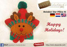 Ster Kussen Rendier XL Rood - Haakpatroon van Eelz! - Eelzuhtjuh's Crochet & More op DaWanda.com