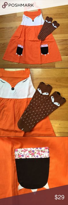Fox Dress AND Matching Socks Brand new adorable halter dress and socks. Dress ties around the neck, has elastic back for comfortable fit and even includes cute pockets for all your toddler's important goodies  Perfect Fall outfit topped with a little cardigan. Ships same day if ordered by 10:00 CST. Combine 3 items and save 15% Dresses