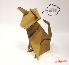DIY: cardboard cat desktop sculpture  {free cutting stencils} || MollyMoo