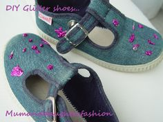 Mumanddaughterfashion DIY glitter canvas shoes