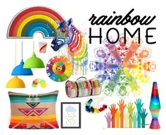 """✿ Rainbow Home ✿"" by haveaflowerday ❤ liked on Polyvore featuring interior, interiors, interior design, home, home decor, interior decorating, Anya Hindmarch, Tweedmill, NeXtime and Schylling"