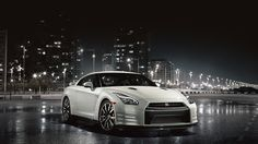 2015 Nissan GT R Sports Car In Pearl White Color, Under The City Lights