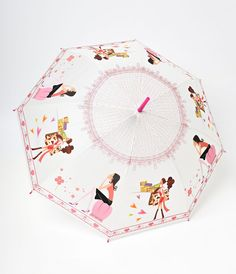 Frosted Pink Fashionista Automatic Umbrella
