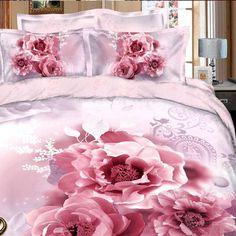 Completo lenzuola matrimoniale maxi con copripiumino satin di cotone 100% *Rose Peony*