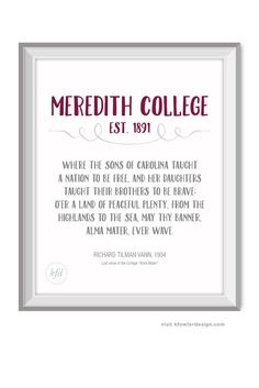 Meredith College Alma Mater digital, instant download print