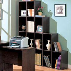 "Decarie Contemporary Asymmetrical Cube Shelves  - ( Cappuccino )   12""W x 68""H x 55""D  Brand SKU: 800213 - Bellacor # : 754383  Sale Price : $159 + FREE Shipping"