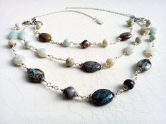 Blue agate and amazonite gemstones multistrand necklace by Mercy's Fancy