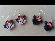 Mickey and Minnie Mouse Beaded Jewelry Patterns, Beading Patterns, Beaded Earrings, Crochet Earrings, Hello Kitty Jewelry, Peyote Beading, Earring Tutorial, Beads And Wire, Beading Tutorials