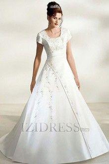 Linha-A/Princesa Quadrado Cauda Corte Cetim Vestidos de Noiva