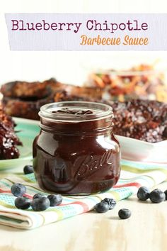 Chipotle Barbecue Sauce A spicy little twist on the traditional barbecue sauce, this one is make without ketchup and loaded with blueberries! Make Bbq Sauce, Homemade Barbecue Sauce, Sauce Barbecue, Barbecue Recipes, Grilling Recipes, Bbq Sauces, Smoker Recipes, Vegetarian Grilling, Homemade Bbq