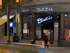 "Two Full Bags, Dimitris, Manchester by Michael John Ashcroft Oil ~ 8"" x 10"""
