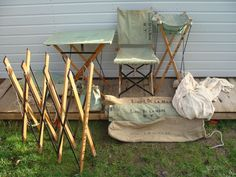 WW2 1944 British Army Campaign Field Furniture Suite Bed Chair Table Sink Bucket