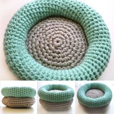 CROCHET PATTERN: Cushioned Cat Bed; Spoil your kitty cat with this extra cushioned cat bed. This round doughnut bed is perfect for kitty to curl up in. You can also crochet it for small dogs or other small pets. Go check it out! #catbed #pets #diy #yarnlove