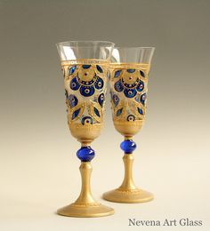 Champagne Glasses Wine Glasses Wedding Glasses by NevenaArtGlass  | Hand painted stained glass.