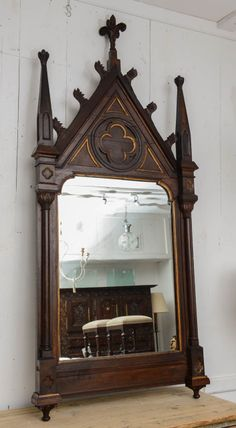 Gothic Mirror | From a unique collection of antique and modern wall mirrors at http://www.1stdibs.com/furniture/mirrors/wall-mirrors/