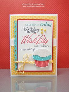 This would be cute using stampin up bithday set and sizzix cupcake