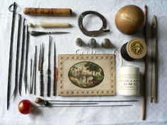 Collection of needle work necessities from the past.