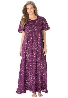 Long cotton knit gown by Dreams & Co® | Plus Size Sleep Gowns | Roamans