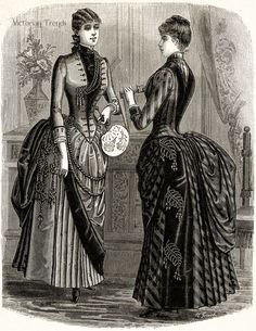 #Victorian ladies' #fashion, January 1886.  #1886fashion #19thcenturyfashion #fashionhistory #BelleÉpoque #LaModeIllustrée #Frenchstyle #Parisfashion #Victoriantrends