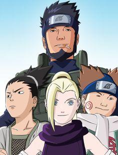 Team 10 :) Asuma Sensei, Shikamaru, Ino, Chouji. :) Young Version