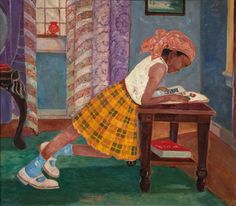 Palmer C. Hayden, Young Girl Reading, 1960.