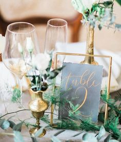 green wedding decorations/ green and gold wedding centerpiece/ rustic spring wedding decorations/ spring wedding centerpieces Table Decoration Wedding, Green Wedding Centerpieces, Wedding Table Settings, Wedding Table Numbers, Table Wedding, Gold Table Numbers, Green Decoration, Centerpiece Ideas, Table Centerpieces