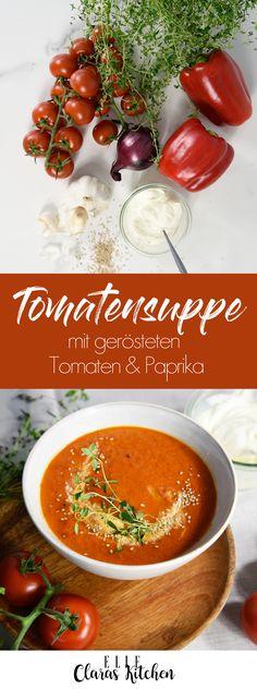 Bereit für ein gesundes Rezept? Diese Suppe aus Tomaten und Paprika schmeckt köstlich und hat super wenig Kalorien...Tomatensuppe