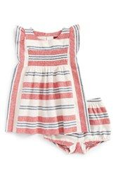 Tea Collection Stripe Smocked Dress & Bloomers (Baby Girls)