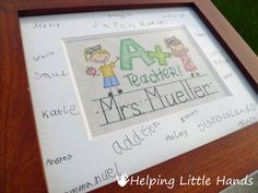 Helping Little Hands: Signed Mat w/ Faux Embroidery - Teacher Gift from the Whole Class