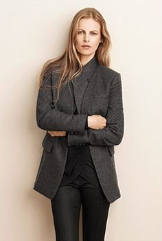 collarless jacket -  also the collarless vest, and cross over knit ...