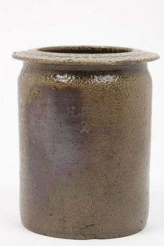 """NC Pottery Storage Jar, Stamped H. Fox (Himer Fox, 19th century, Chatham County) salt glazed stoneware, stamped below rim and with capacity mark """"2"""" (half gallon), wide flange rim, straight sides. 7 x 5.75 in."""